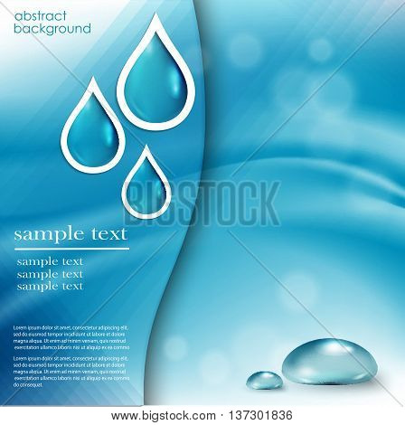 Blue shiny water drops set of banners. Vector illustration. Fresh rain pattern for design card cover. Pure, organic, mineral-rich spring water.