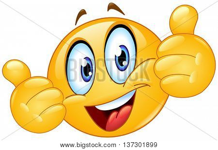 Yellow ball showing thumbs up