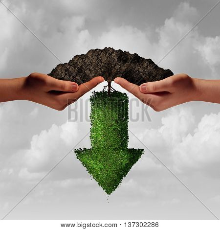 Business team project failure as twi diverse human hands holding soil with an arrow tree growing downward as a financial or a failed partnership loss metaphor in a 3D illustration style.