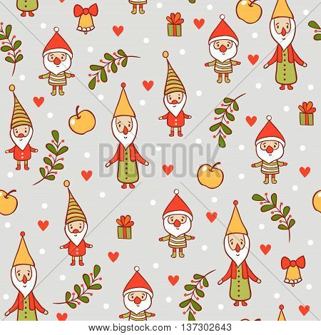 Christmas pattern. Holiday card with cute gnomes.