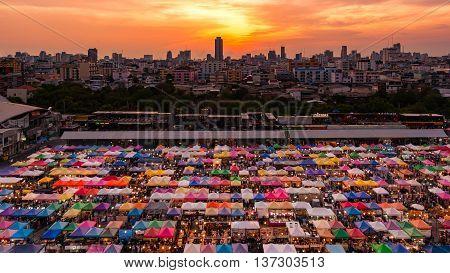 14 May 2016, Colorful Food Stalls At Rod Fai Night Market On 14 May 2016 In Bangkok, Thailand.