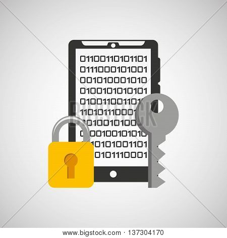smarphone with security system icon vector illustration