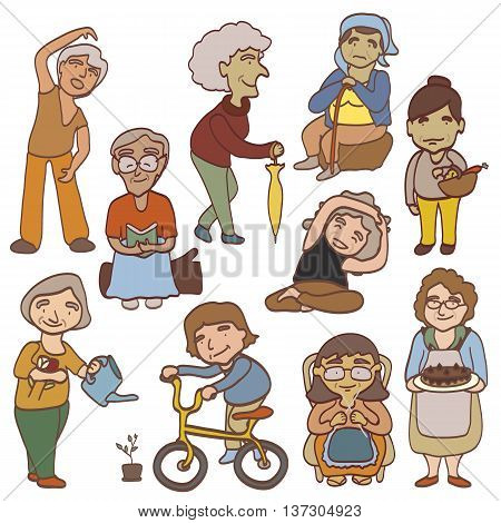 set cute cartoon grandmother with 10 action