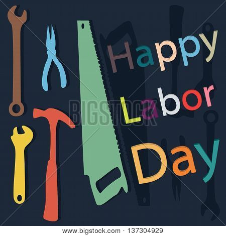 happy labor day with flat color in background