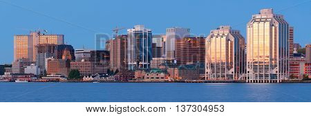 HALIFAX CANADA - JULY 03 2016: Downtown Halifax skyline at daybreak. Halifax is the capital of the province of Nova Scotia Canada.