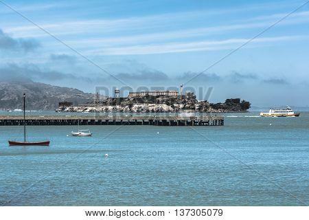 San Francisco Bay,California,USA - June 19, 2014 : View of Alcatraz Island from Aquatic Park
