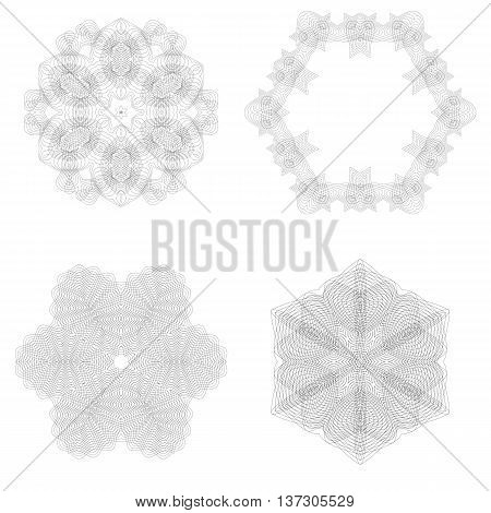 Set of Rosettes Isolated on White Background