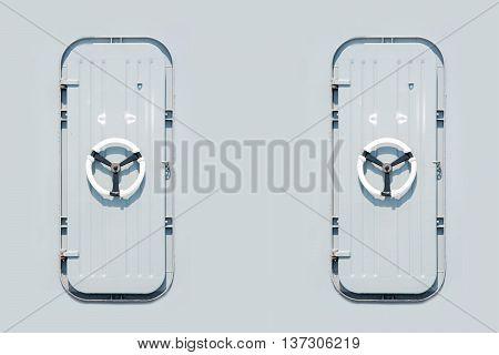 marine door of battle ship for background