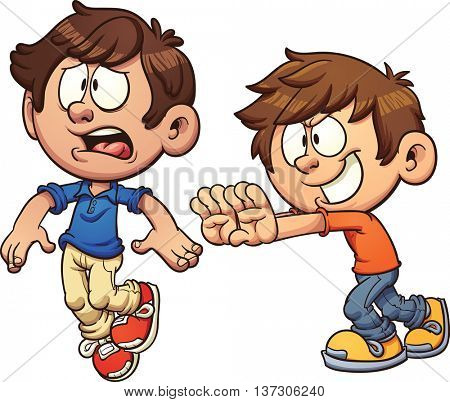 Cartoon kid pushing another kid. Vector clip art illustration with simple gradients. Each on a separate layer.