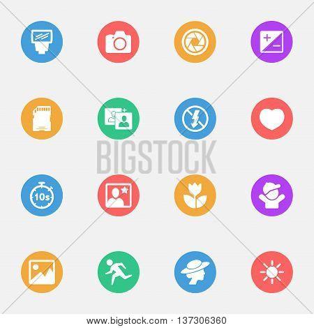 photography camera and foto icon flat set
