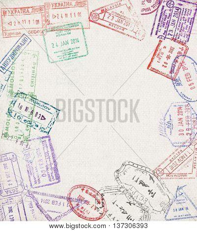 Travel background. Immigration stamps. Design background. Tourist background