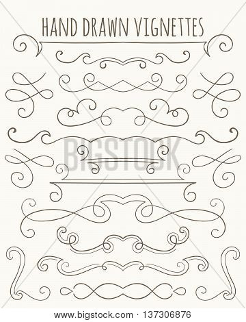 Set of hand drawn vignettes in retro style. Elegant vintage calligraphic borders and dividers for greeting card retro party wedding invitation. Vector illustration.