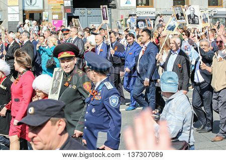 St. Petersburg, Russia - 9 May, Different people in the column, 9 May, 2016. Memory Action