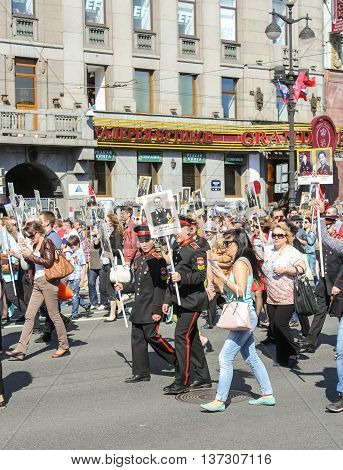 St. Petersburg, Russia - 9 May, Cadets in the column immortal regiment, 9 May, 2016. Memory Action