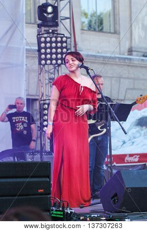 St. Petersburg, Russia - 2 July, Soloist in the red dress, 2 July, 2016. Annual international festival of jazz and blues in St. Petersburg.