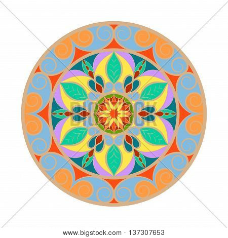 Vector color flower mandala over white. Invitation element. Tattoo, astrology, alchemy, boho and magic symbol for your projects. All colors are in groups. Easy use and edit colors.