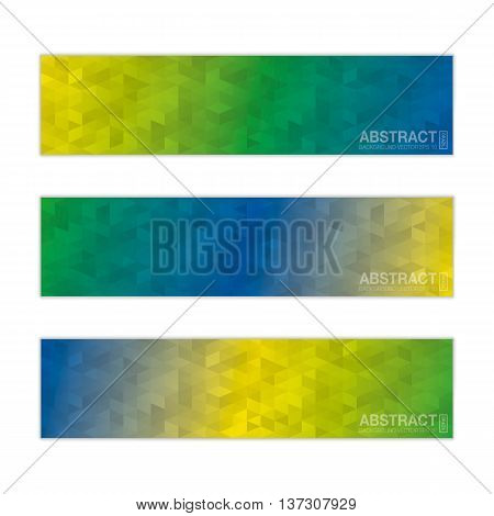 Abstract Banner Background In Colors Of Brazil. Vector Eps10.