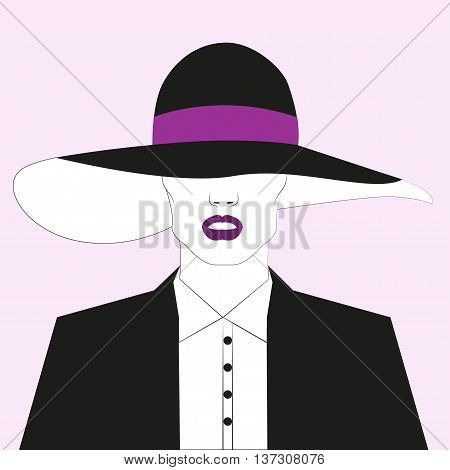 Sketch fashion girl. Vector illustration Fashion girl in wide-brimmed hat and black suit. Girl with lipstick plum color. Sketch drawing