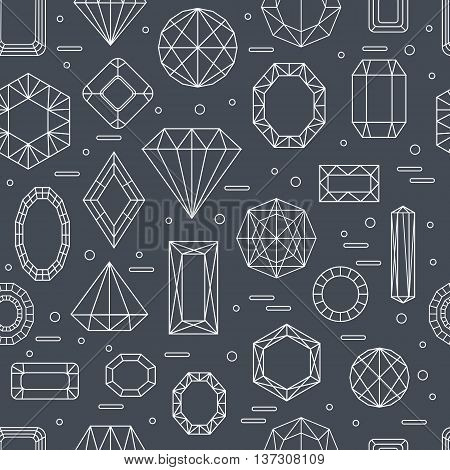 Vector seamless pattern with diferent diamonds in line style with black background. Vector illustration.