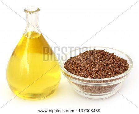 Ajwain seeds in a glass bowl with essential oil over white background