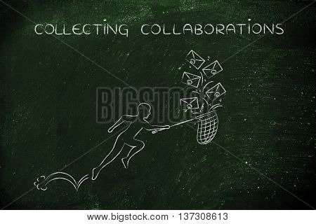 Collecting Collaborations: Man With Net Colleting Group Of Emails