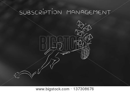 Man With Net Colleting Group Of Emails, Subscription Management
