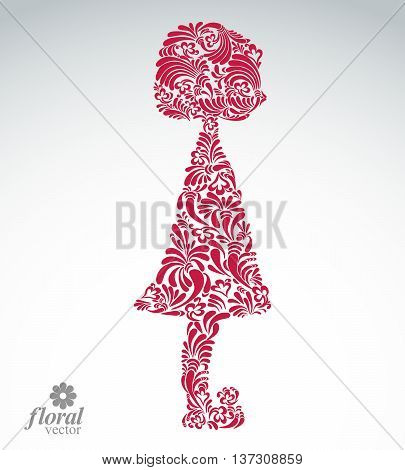 Creative illustration of a girl with a short hair. Cute teenage girl wearing a flower-patterned dress. Graphic vector beautiful image of a schoolgirl.