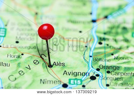 Ales pinned on a map of France