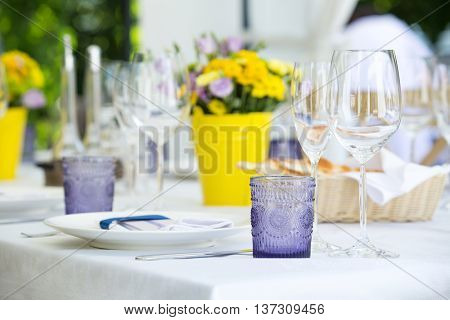 Beautiful table set for an event party or wedding reception