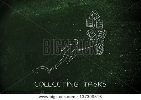 Man With Net Handling A Group Of Falling To Do Lists, Collecting Tasks