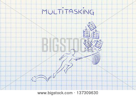 Man With Net Handling A Group Of Falling To Do Lists, Multitasking