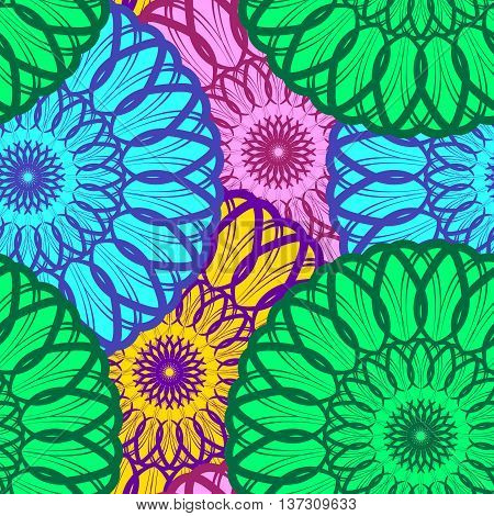 Vector Seamless Color Floral Mandala Pattern. Seamless pattern for your designs, invitation card, meditation, astrology, fabric and other wrapped projects. Pattern in swatches panel.