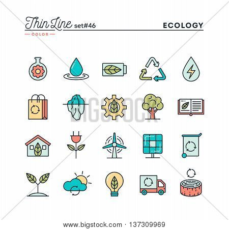 Ecology nature clean energy recycling and more thin line color icons set vector illustration