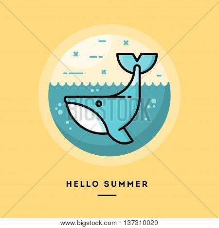 Hello summer cute whale flat design thin line banner usage for e-mail newsletters web banners headers blog posts print and more vector illustration
