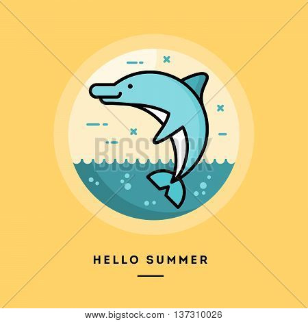 Hello summer flat design thin line banner usage for e-mail newsletters web banners headers blog posts print and more