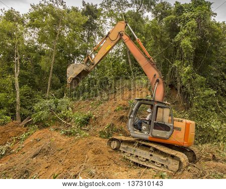 KOTA KINABALU, MALAYSIA - CIRCA JULY 2016: Deforestation. Destruction of rainforest for palm oil industry.