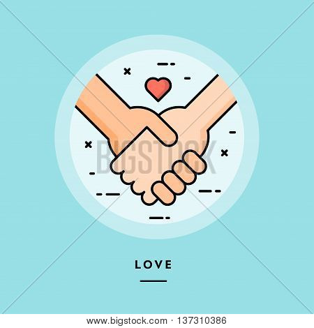 Couple holding hands flat design thin line banner usage for e-mail newsletters web banners headers blog posts print and more