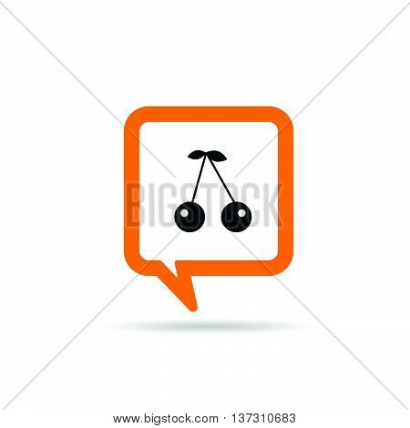 Square Orange Speech Bubble With Cherry Icon Illustration
