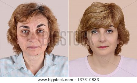 Woman before and after applying make-up and hairstyling