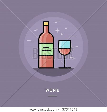 Bottle and glass of red wine flat design thin line banner usage for e-mail newsletters web banners headers blog posts print and more