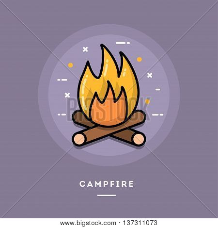 Campfire flat design thin line banner usage for e-mail newsletters web banners headers blog posts print and mor