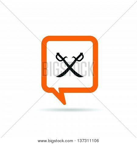 Square Orange Speech Bubble With Pirate Icon Illustration