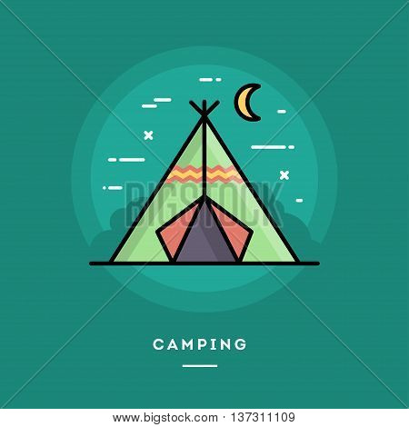 Camping flat design thin line banner usage for e-mail newsletters web banners headers blog posts print and more
