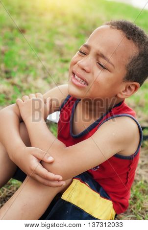 Portrait of little boy crying with tears on cheeks