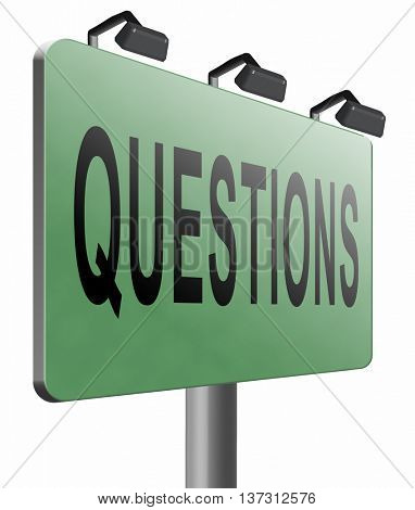 questions and solutions need serious answers helps or support desk information answer question with text and word concept, 3D illustration, isolated on white