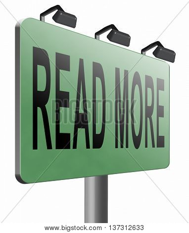 read more details and information road sign bilboard, 3D illustration, isolated on white