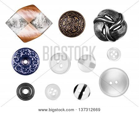 many buttons isolated on white supplies, plastic