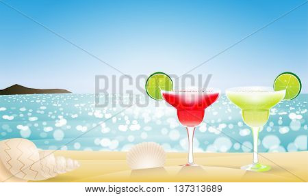 Summer seascape blur bokeh with two margaritas and a two sea shell. Paradise island. Realistic vector illustration for web or application