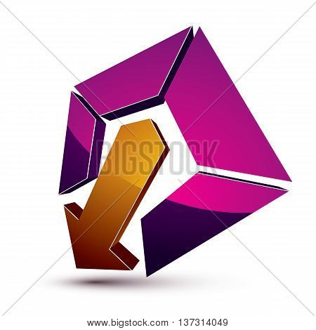 3D Creative Symbol With Arrow Aiming At Target. Business Objective Conceptual Vector Sign.