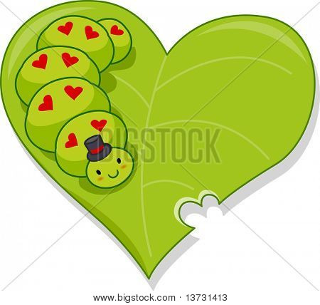 Illustration of a Caterpillar Crawling on a Heart-shaped Leaf